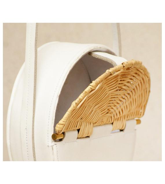 sac rond en cuir et rotin white. Black Bedroom Furniture Sets. Home Design Ideas